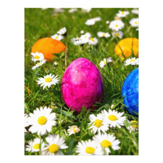 Painted easter eggs in grass with daisies custom letterhead