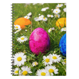 Painted easter eggs in grass with daisies notebooks