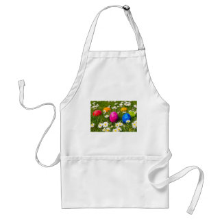 Painted easter eggs in grass with daisies standard apron