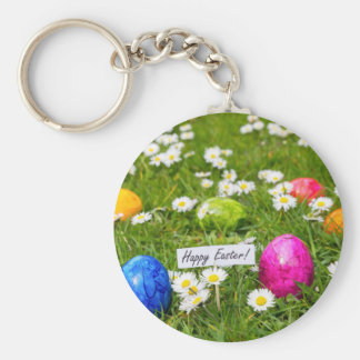 Painted Easter eggs in grass with white daisies Basic Round Button Keychain