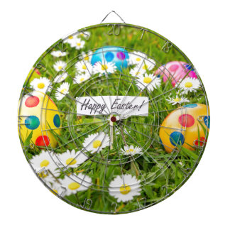 Painted Easter eggs in grass with white daisies Dartboard