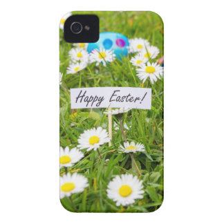 Painted Easter eggs in grass with white daisies iPhone 4 Case-Mate Cases