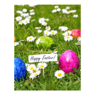 Painted Easter eggs in grass with white daisies Personalized Letterhead