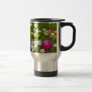 Painted Easter eggs in grass with white daisies Travel Mug