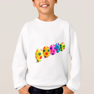 Painted easter eggs in row on white background sweatshirt