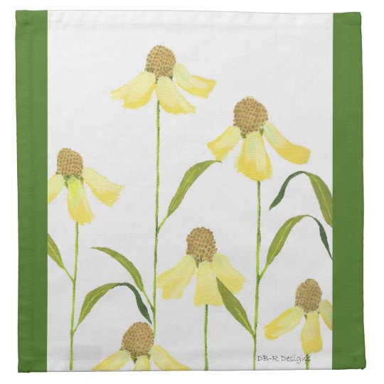 Painted Echinacea on 4 Set Cocktail Cloth Napkins