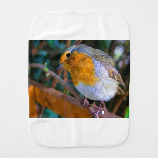 Painted Effect Robin Burp Cloth