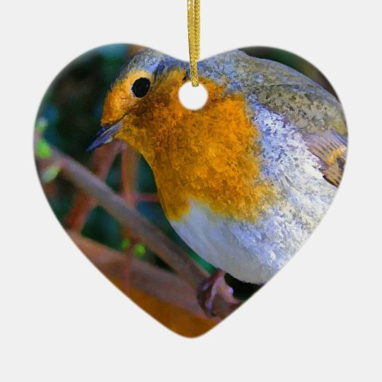 Painted Effect Robin Ceramic Ornament