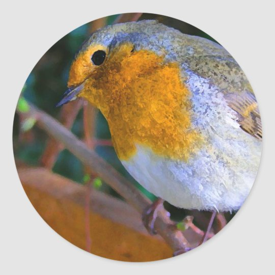 Painted Effect Robin Classic Round Sticker