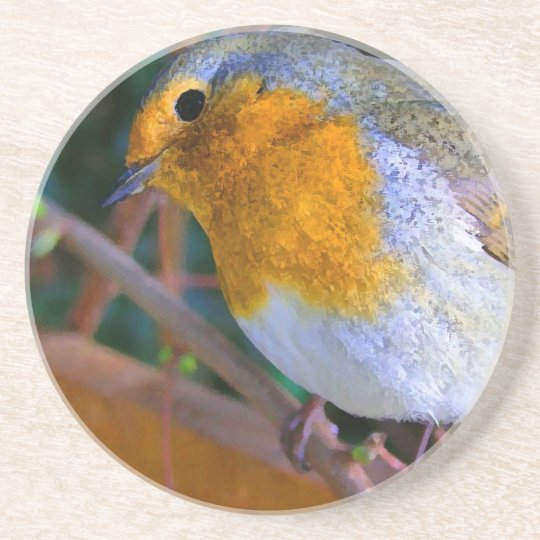 Painted Effect Robin Coaster
