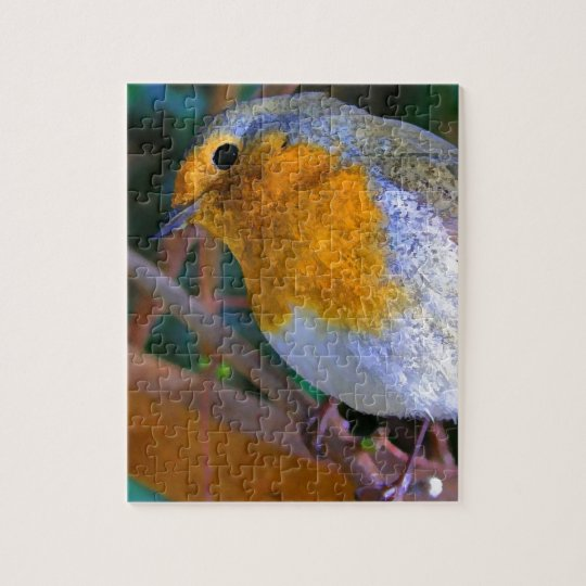 Painted Effect Robin Jigsaw Puzzle