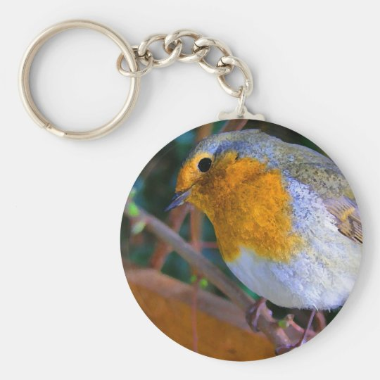 Painted Effect Robin Keychain