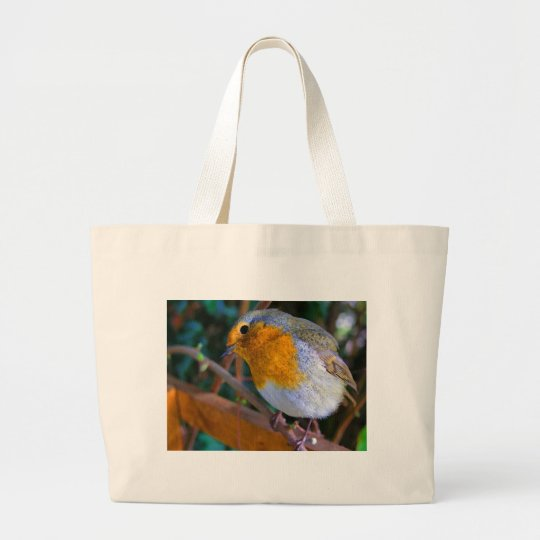 Painted Effect Robin Large Tote Bag