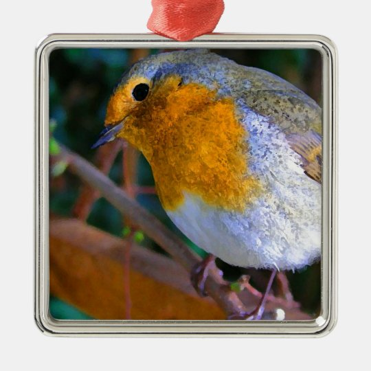 Painted Effect Robin Metal Ornament
