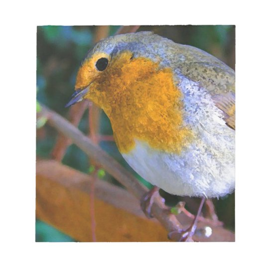 Painted Effect Robin Notepad