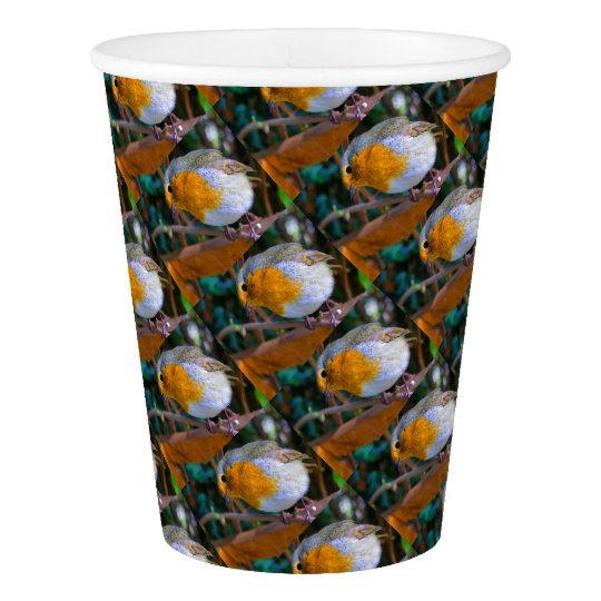 Painted Effect Robin Paper Cup