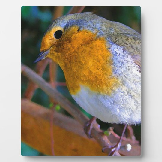 Painted Effect Robin Plaque