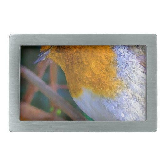 Painted Effect Robin Rectangular Belt Buckle