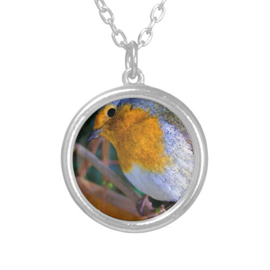Painted Effect Robin Silver Plated Necklace