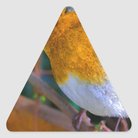Painted Effect Robin Triangle Sticker