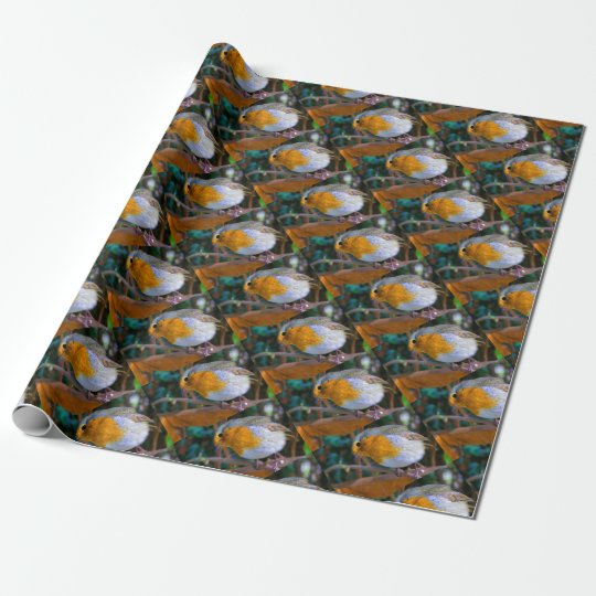 Painted Effect Robin Wrapping Paper