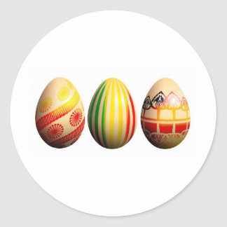 painted eggs classic round sticker