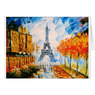Painted Eiffel Tower Card
