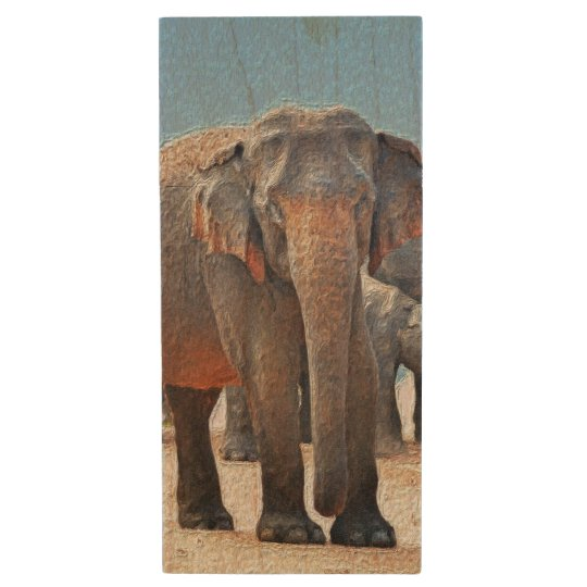 Painted Elephant in Desert Wood USB 2.0 Flash Drive