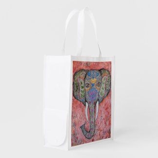 Painted Elephant Watercolor Art Market Tote