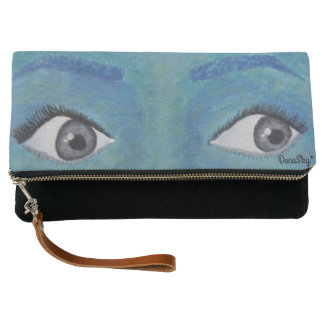 Painted EYES Clutch Purse Bag with strap