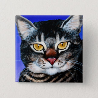 Painted Fat Cat 2 Inch Square Button