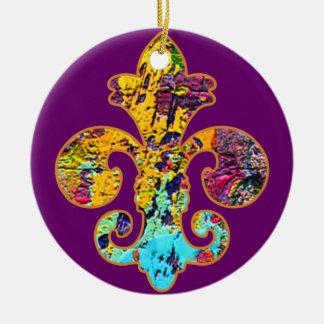Painted Fleur de lis 4 Ceramic Ornament