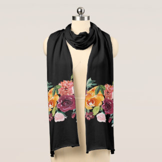 Painted Floral Black Scarf