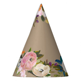 Painted Floral Blooms French Gray Party Hat