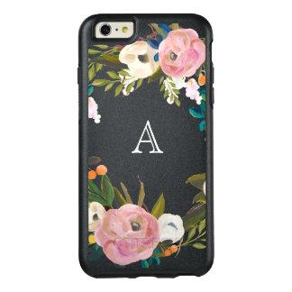 Painted Floral Blooms Monogram Black OtterBox Case