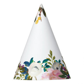 Painted Floral Blooms Party Hat
