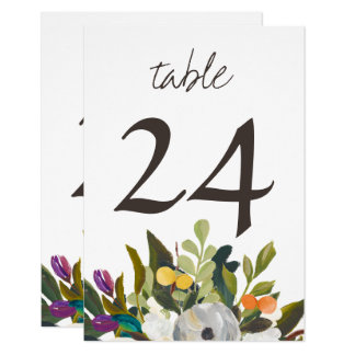 Painted Floral Blooms Small Table Number Card