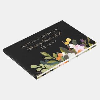 Painted Floral Blooms Wedding Black Guest Book
