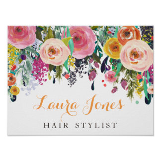 Painted Floral Ladies Business Sign Poster