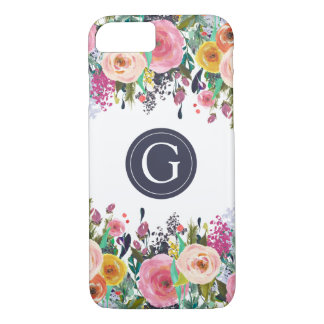 Painted Floral Monogram iPhone 7 Case