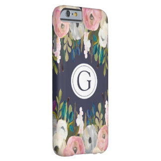 Painted Floral Navy Monogram Iphone 6 Case
