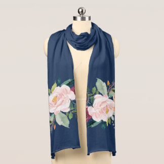 Painted Floral Peonies Navy Blue Scarf