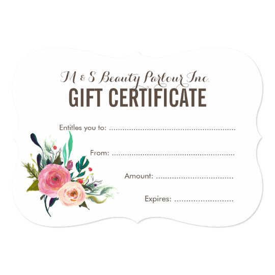 painted floral salon gift certificate template zazzleca