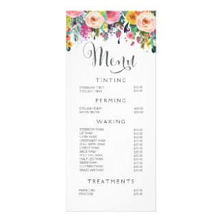 Painted Floral Salon Stylist Menu Price List