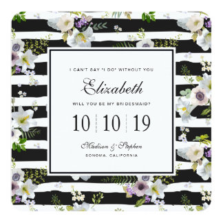 Painted Floral Striped Pattern - Bridesmaid Card