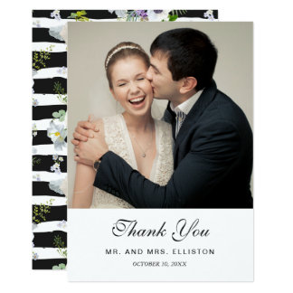 Painted Floral Striped Pattern | Thank You Card