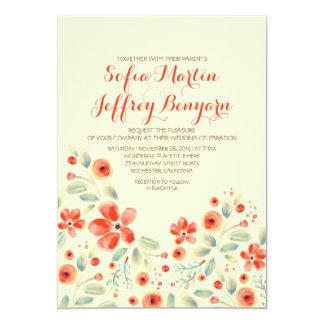painted flowers elegant casual wedding invitation
