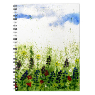 Painted Flowers Feild2 Spiral Note Books