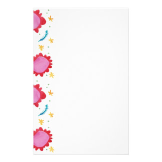 Painted Flowers red Stationery