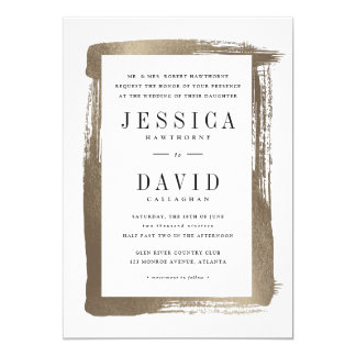 Painted frame faux foil wedding invitation